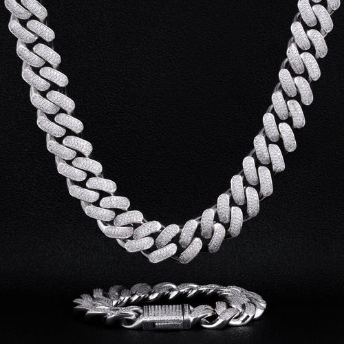 18mm Iced Cuban Chain and Bracelet Set White Gold Plated-krkcom