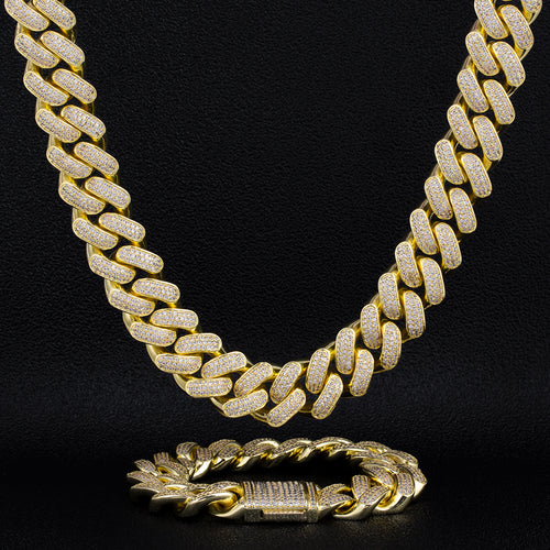 18mm Iced Cuban Chain and Bracelet Set 14K Gold Plated-krkcom