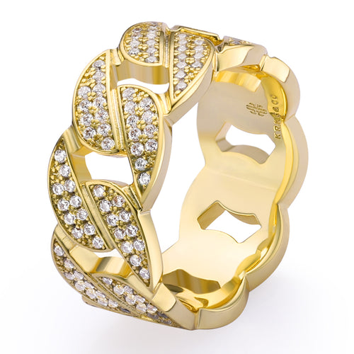 Iced Cuban Link Ring in 14K Gold