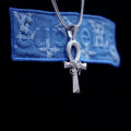 White Gold Iced The Eye Of Horus Ankh Cross Pendant-krkcom