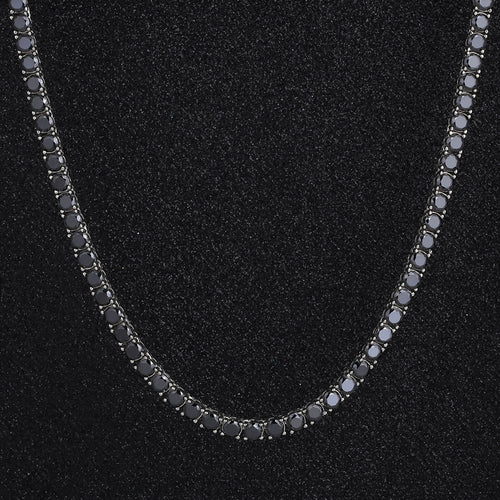 5mm White Gold Round Cut Black Tennis Chain-krkcom