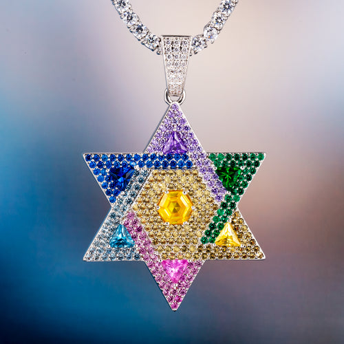 Star Of David White Gold Multicolored Iced Out Pendant Necklace-krkcom