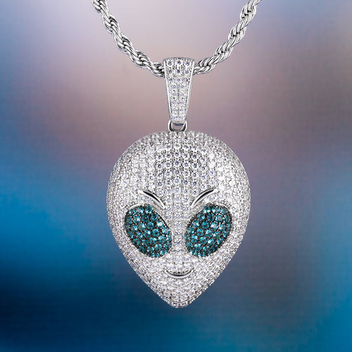 Alien Head White Gold Iced Out Pendant Necklace-krkcom