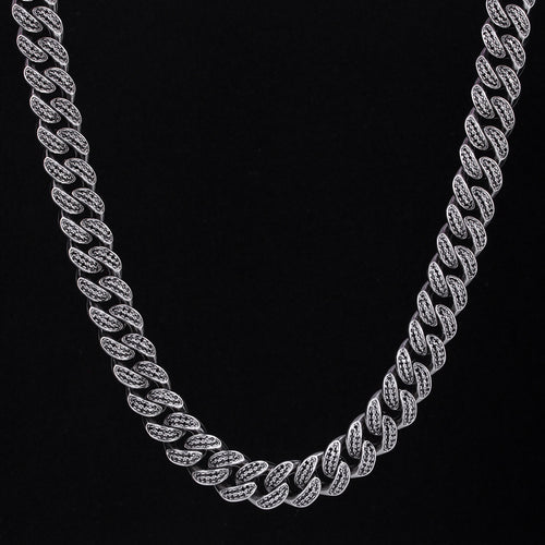 12mm Black Iced Cuban Link Chain-krkcom