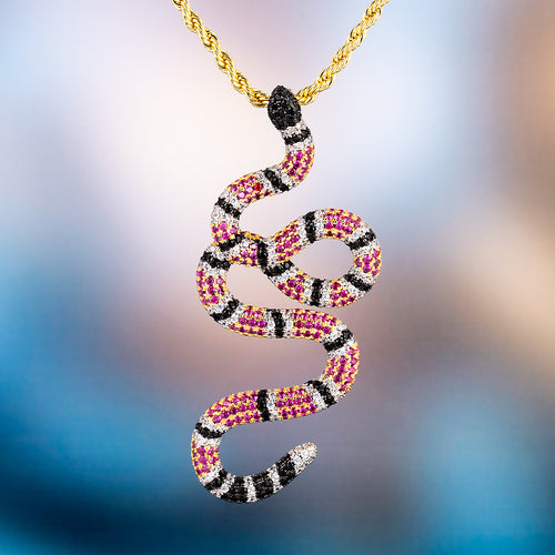 14K Gold Iced Out Twisted Coral Snake Pendant Necklace-krkcom