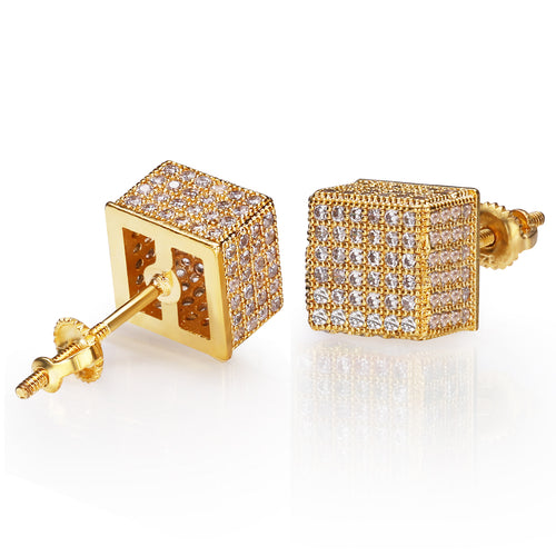 Iced Cubic Hiphop Earrings 14K Gold Plated-krkcom