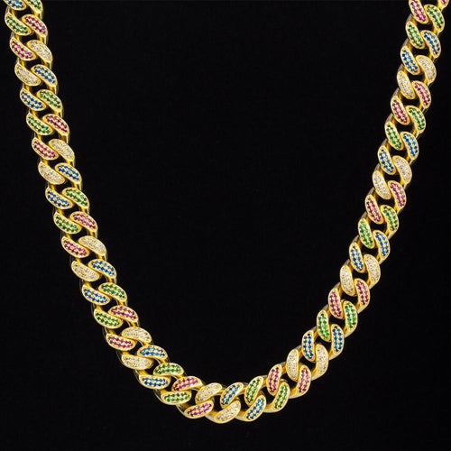 12mm Multicolored Iced Cuban Link Chain in 14K Gold-KRKC&CO