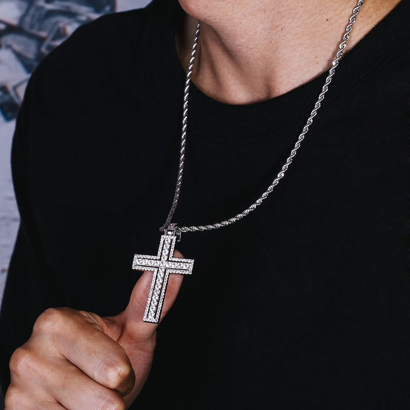 White Gold Iced Double Layered Cross Pendant-krkcom