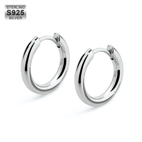 12mm Round Hoop Earrings in 925 Sterling Silver-krkcom