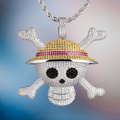 White Gold Iced Out Pirate Skull With Crossed Bones Pendant Necklace-krkcom
