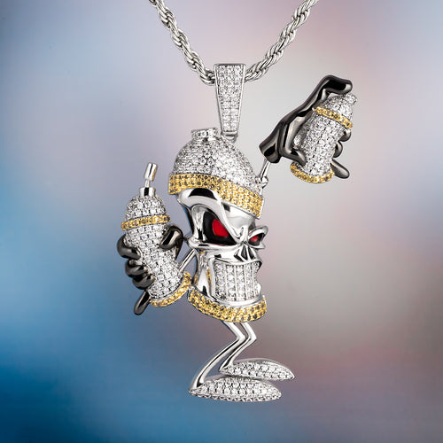 White Gold Iced Out Graffiti Spray Bottle Pendant Necklace-krkcom