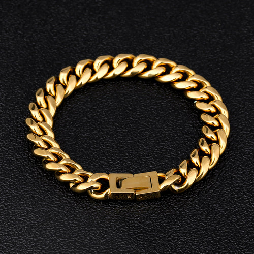 10mm Miami Cuban Link Bracelet 18K Gold Plated-krkcom