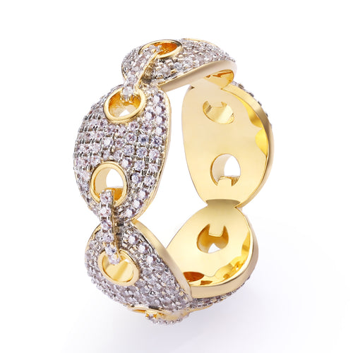 Iced Gucci Link Ring 18K Gold Plated-krkcom