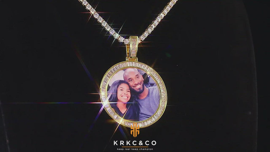 KRKC Iced Out Baguette Cut CZ Custom Round  Picture Necklace Photo Pendant in White Gold/14K Gold