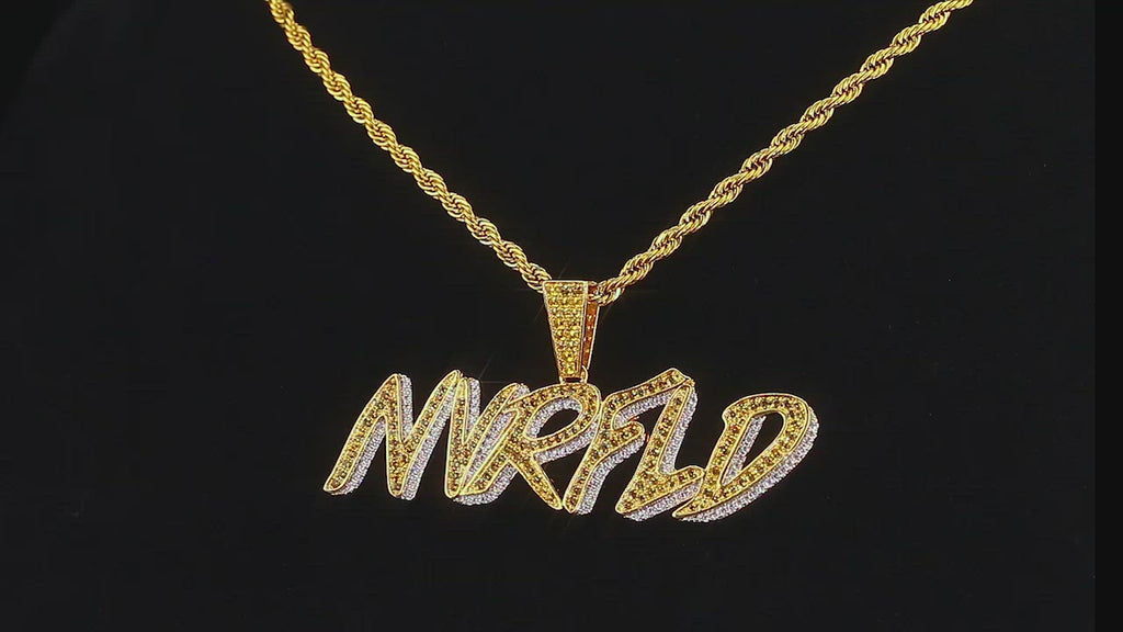 KRKC Iced Out Mens NVRFLD Pendant Necklace in 14K Gold