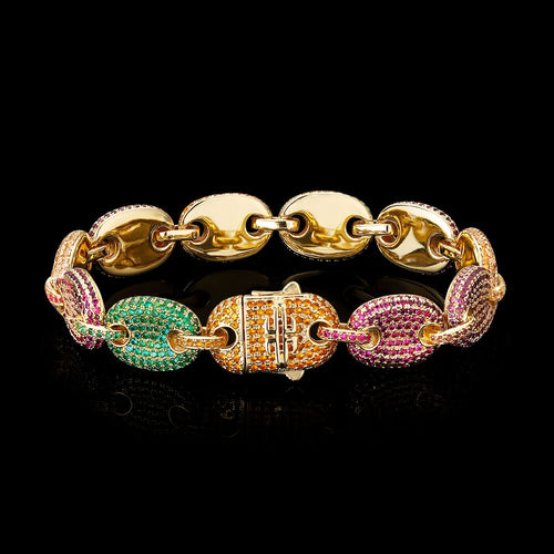 12MM Iced Gucci Link Bracelet 14K Gold Plated-krkcom