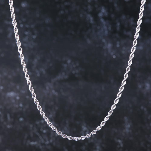 3mm Rope Chain in White Gold-krkcom