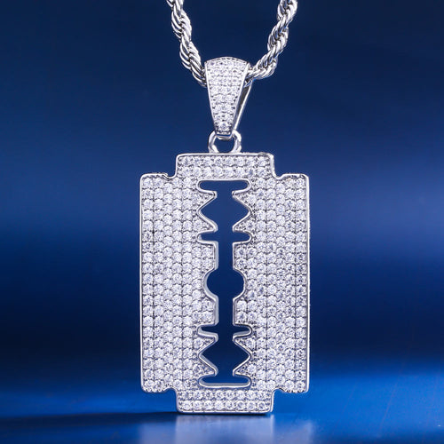 White Gold Ice Out Double-Edged Razor Blade Pendant Necklace-krkcom