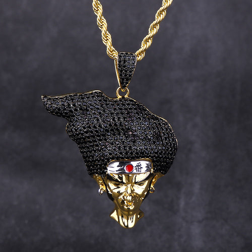 14K Gold AFRO SAMURAI Pendant Necklace-krkcom