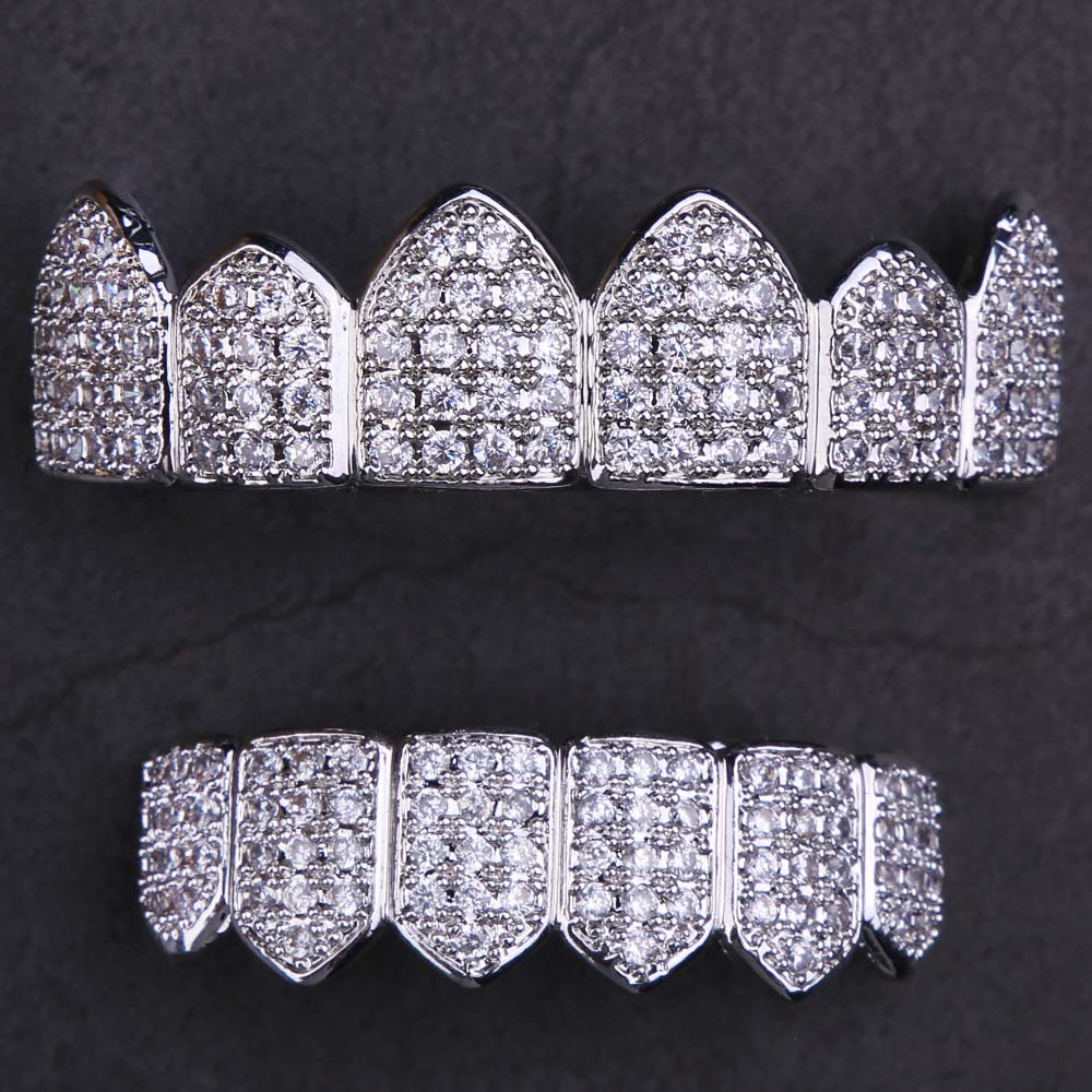Micro Pave CZ Grillz Teeth Set in White Gold