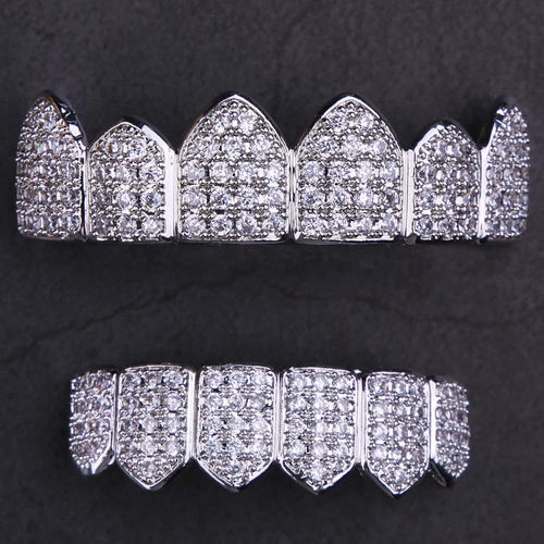 Micro Pave CZ Grillz Teeth Set in White Gold-krkcom
