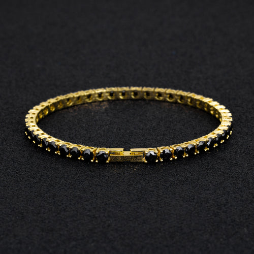 4mm Black Tennis Bracelet 14K Gold Plated-krkcom