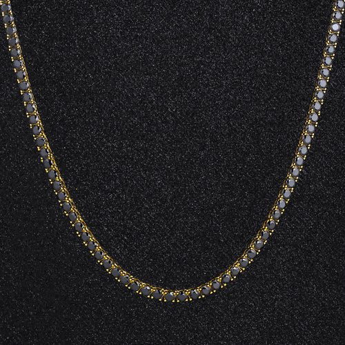 4mm Black Tennis Chain 14K Gold Plated-krkcom