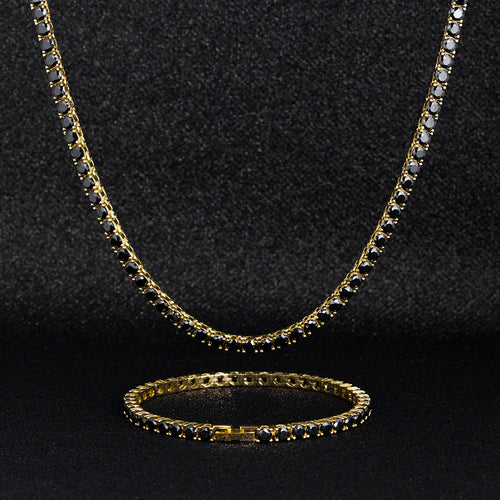 4mm Black Tennis Chain and Bracelet Set in 14K Gold-krkcom