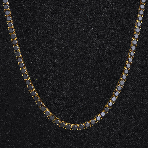5mm 14K Gold Round Cut Black Tennis Chain-krkcom