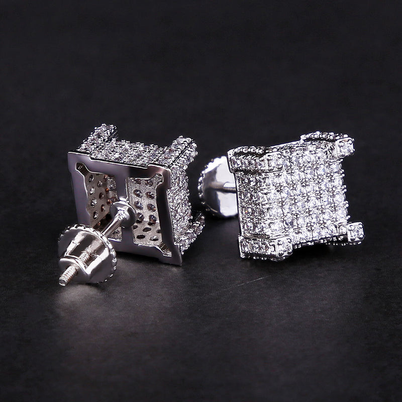 Micro Pave Gold Iced Out 3D CZ Hip-Hop Earrings-krkcom