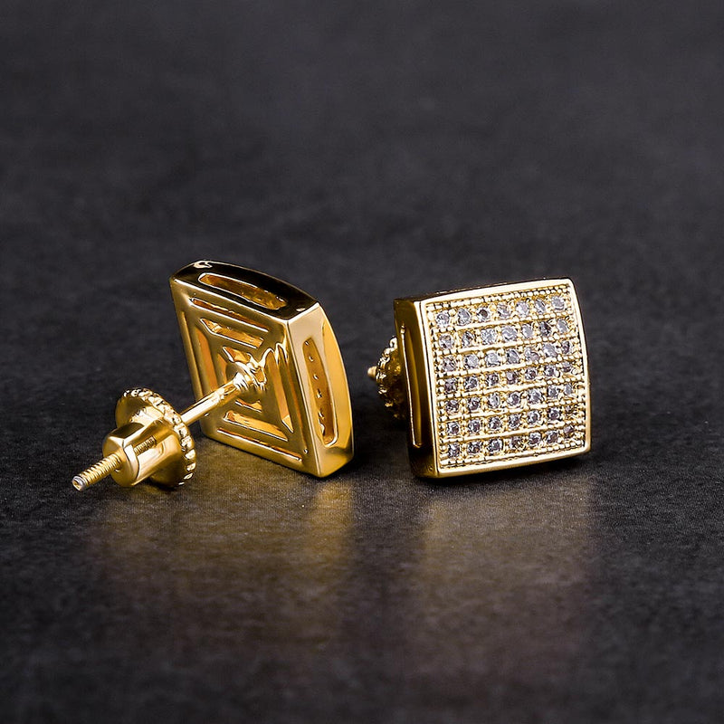 Micro Pave Gold Iced Square Hip-Hop Earrings-krkcom