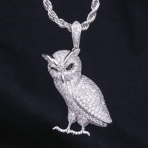 White Gold Iced Out Owl Pendant-krkcom
