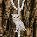 Iced Owl Pendant White Gold Plated-krkcom