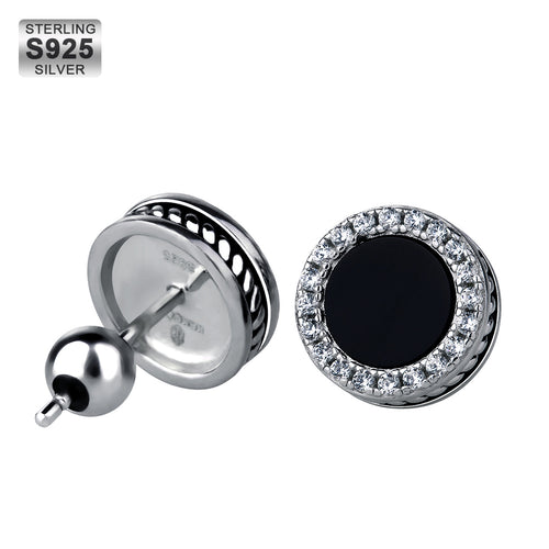 925 Sterling Silver Black Onyx Iced Round Earrings in White Gold