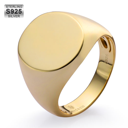 925 Sterling Silver Oval Engraved Signet Ring in 14K Gold