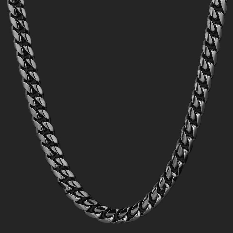 10mm Miami Cuban Link Chain Black Gold Plated-krkcom