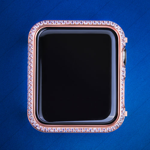 Rose Gold Iced Out Apple Watch Cover for Apple Watch Series 3/2/1-krkcom
