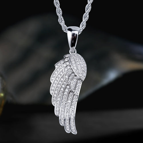 White Gold Iced Out Winged Pendant-krkcom