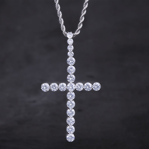 White Gold Big Ice Out Cross Pendant Necklace-krkcom