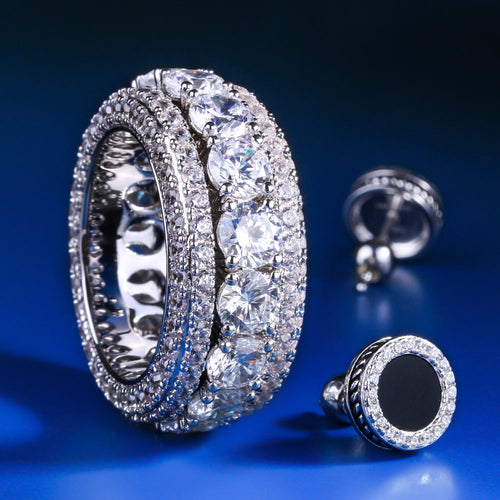 White Gold Iced Out Rotating Ring and Onyx Earrings Set-krkcom