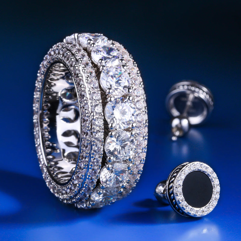 White Gold Iced Rotating Ring and Onyx Earrings Set-krkcom
