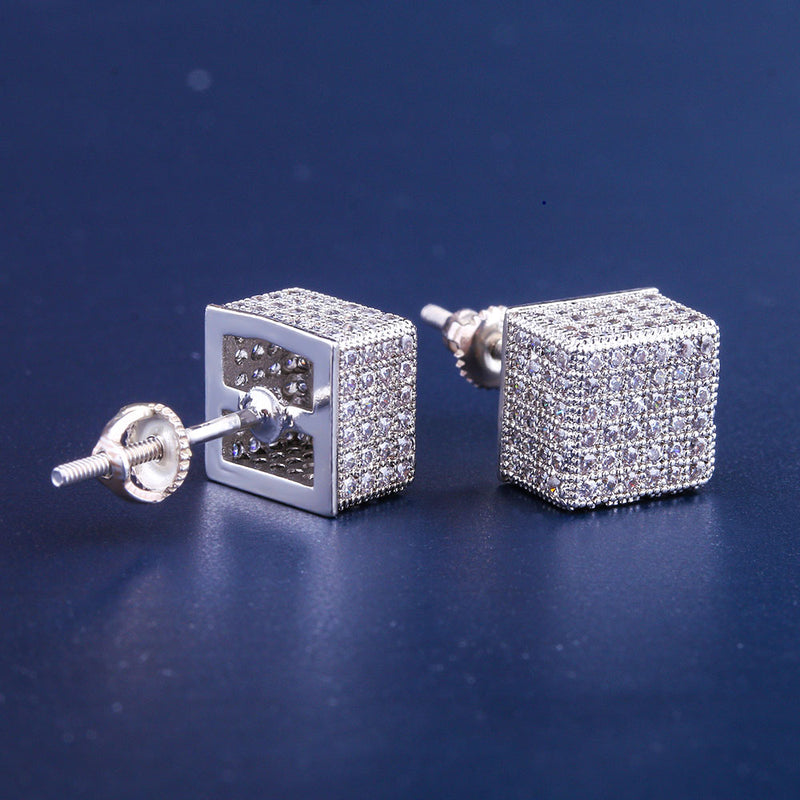 White Gold Iced Out Cubic Hip-hop Earrings-krkcom