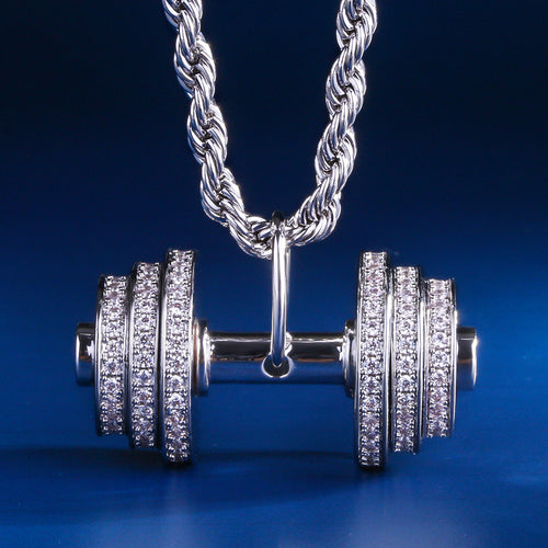 White Gold Iced Dumbbell Pendant Necklace-krkcom