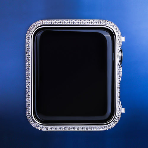 Iced Apple Watch Cover for Apple Watch Series 3/2/1 White Gold Plated-krkcom
