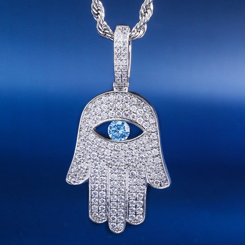 White Gold Iced Out Hamsa Hand Pendant Necklace-krkcom