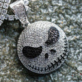 White Gold Iced Out Jack Skellington Pendant Necklace-krkcom