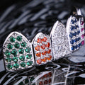Multicolored CZ Grillz Teeth Set White Gold Plated-krkcom