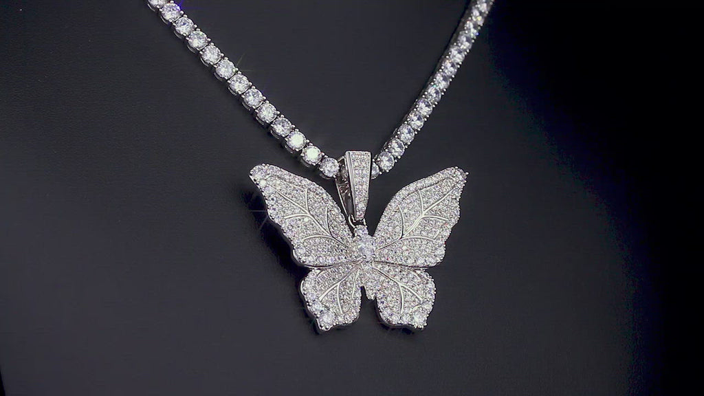 KRKC Big Butterfly Pendant Necklace in White Gold for Women