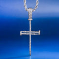 White Gold Nail Cross and Cuban link Rotating Ring Set-krkcom