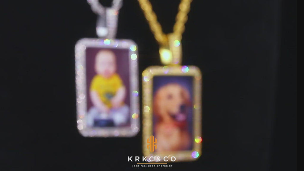 KRKC Iced Out Custom Dog Tag Picture Necklace Photo Pendant in White Gold/14K Gold